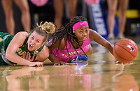 UAB Blazers guard Rachael Childress (32) and Middle Tennessee Blue Raiders guard Taylor Sutton (2) dive for a loose ball during the UAB Blazers at Middle Tennessee Blue Raiders college basketball game in Murfreesboro, Tennessee, Thursday, February, 20, 2020.<br /> Photo: Harrison McClary/All Tenn Sports