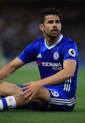 """Chelsea's Diego Costa during the Premier League match at Stamford Bridge, London. PRESS ASSOCIATION Photo. Picture date: Monday May 8, 2017. See PA story SOCCER Chelsea. Photo credit should read: Mike Egerton/PA Wire. RESTRICTIONS: EDITORIAL USE ONLY No use with unauthorised audio, video, data, fixture lists, club/league logos or """"live"""" services. Online in-match use limited to 75 images, no video emulation. No use in betting, games or single club/league/player publications."""