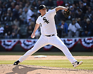 CHICAGO - APRIL 05:  Ryan Burr #61 of the Chicago White Sox pitches against the Seattle Mariners on April 5, 2019 at Guaranteed Rate Field in Chicago, Illinois.  (Photo by Ron Vesely)  Subject:  Ryan Burr