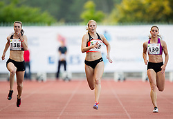 Tina Jures, Maja Mihalinec and Kaja Debevec of Slovenia competes at 100m Women during 20th European Athletics Classic Meeting in Honour of Miners' Day in Velenje on July 1, 2015 in Stadium Velenje, Slovenia. Photo by Vid Ponikvar / Sportida