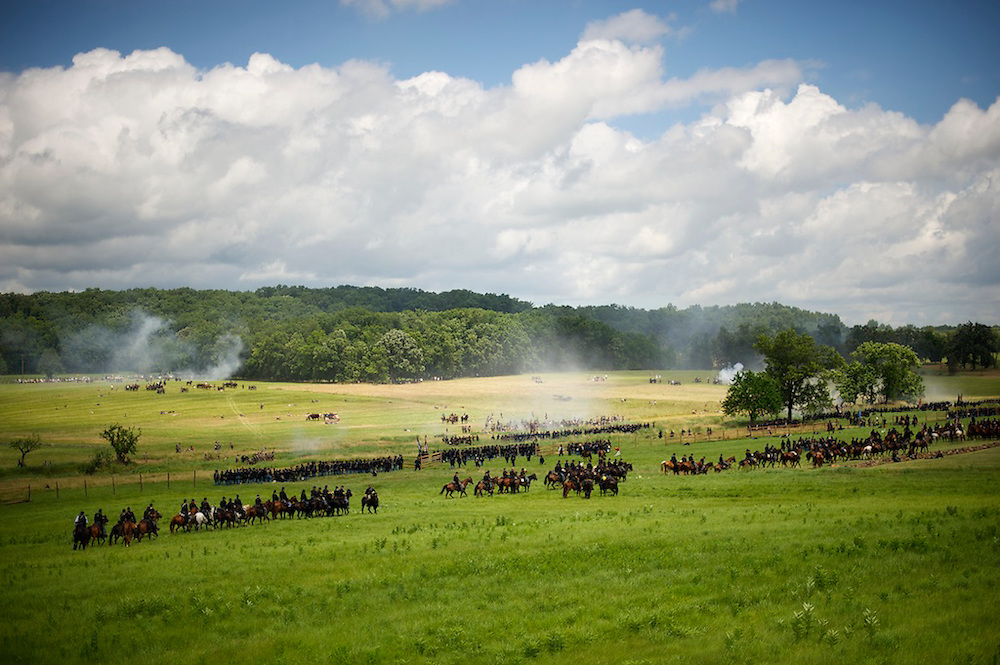 The first battle of the four day Gettysburg Anniversary Committee 150th Gettysburg reenactment called 'The Devil's to Pay' is staged in Gettysburg, PA on July 4, 2013.