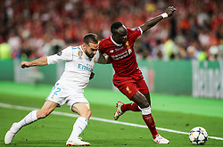 Dani Carvajal of Real Madrid vs Sadio Mané of Liverpool during the UEFA Champions League final football match between Liverpool and Real Madrid at the Olympic Stadium in Kiev, Ukraine on May 26, 2018. Photo by Andriy Yurchak / Sportida