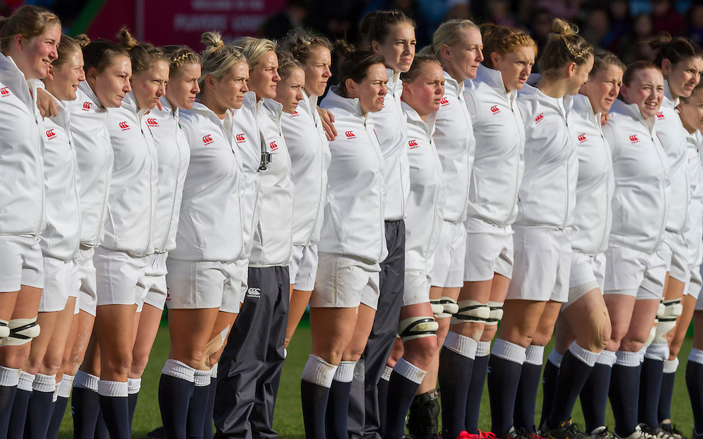 The Red Roses face up to the Black Ferns Haka, England Women v New Zealand Women in an Old Mutual Wealth Series, Autumn International match at Twickenham Stoop, Twickenham, England, on 19th November 2016. Full Time score 20-25