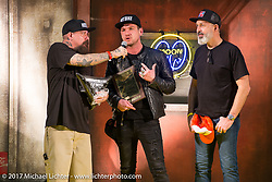 Jeff Holt gives his award to Charlie Stockwell and Matthew Hegarty at the 26th Annual Yokohama Hot Rod and Custom Show 2017. Yokohama, Japan. Sunday December 3, 2017. Photography ©2017 Michael Lichter.