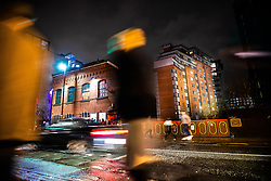 """© Licensed to London News Pictures . 13/12/2019 . Manchester , UK . GV of Montana House (right) and FAC251 nightclub (left) (also known as """" The Factory """") on Princess Street in Manchester City Centre . Sinaga was living in Montana House and committed many of his offences there . Reynhard Sinaga has been convicted of over a hundred serious sexual assaults , including the rape of dozens of young men whom he lured to his flat from outside nightclubs in Manchester City Centre , making him one of the most prolific sex offenders ever to have been tried and convicted . Photo credit : Joel Goodman/LNP"""