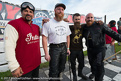 Billy Lane with racers Matt Harris, Matt Walkser and the winner Ebay Jake at his Sons of Speed vintage motorcycle racing during Biketoberfest. Daytona Beach, FL, USA. Saturday October 21, 2017. Photography ©2017 Michael Lichter.