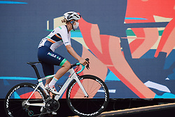 Maria Vittoria Sperotto (ITA) rolls onto the presentation stage at the 2020 La Course By Le Tour with FDJ, a 96 km road race in Nice, France on August 29, 2020. Photo by Sean Robinson/velofocus.com