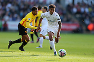Kyle Naughton of Swansea city makes a break.  Premier league match, Swansea city v Watford at the Liberty Stadium in Swansea, South Wales on Saturday 22nd October 2016.<br /> pic by  Andrew Orchard, Andrew Orchard sports photography.