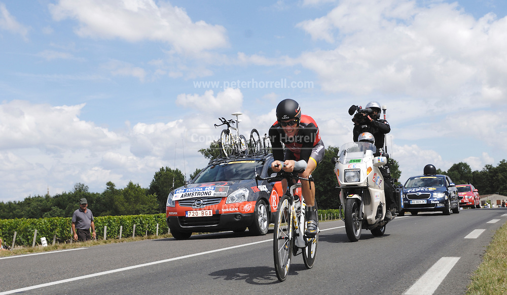 France, July 24 2010: Team Radioshack's Lance Armstrong during Stage 19, the final time trial from Bordeaux to Pauillac of the 2010 Tour de France cycle race..Copyright 2010 Peter Horrell