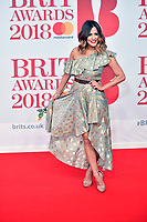 Caroline Flack at the 38th Brit Awards, The O2 Arena, London  UK   21 Feb 2018 photo by Martin Dunning