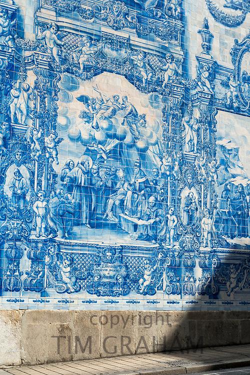 Azulejos Portuguese blue and white wall tiles of Capela das Almas de Santa Catarina  - St Catherine's Chapel in Porto, Portugal