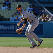 Aug 13 2016 - Los Angeles U.S. CA - Pittsburgh Pirates SS # 10 Jordy Mercer make a infield play during MLB game between LA Dodgers and the Pittsburgh Pirates 8-4 lost at Dodgers Stadium Los Angeles Calif. Thurman James / CSM