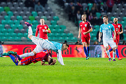 Josip Ilicic of Slovenia and Gary Cahill of England during football match between National teams of Slovenia and England in Round #3 of FIFA World Cup Russia 2018 qualifications in Group F, on October 11, 2016 in SRC Stozice, Ljubljana, Slovenia. Photo by Grega Valancic / Sportida