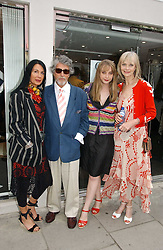 Left to right, SUE TIMNEY, JUSTIN DE VILLENEUVE,  JAN DE VILLENEUVE and her daughter DAISY DE VILLENEUVE at an exhibition of rock photographer Mick Rock's exclusive 'the One and Only' photographic prints held at Notting Hill's newly opened boutique 'One' 30 Ledbury Street, London W11 on 22nd June 2006.<br /><br />NON EXCLUSIVE - WORLD RIGHTS