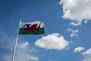 The Welsh flag flies in summer skies on 22nd April 2017, in Clevedon, North Somerset, England.