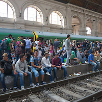 Illegal migrants sit on the platform edge as they wait to board a train to leave for Germany at the main railway station Keleti in Budapest, Hungary on September 03, 2015. ATTILA VOLGYI