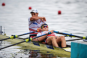 """Glasgow, Scotland, """"2nd August 2018"""", Swiss men's Double Scull, SUI M2X, """"Left Nico STAHLBERG"""", and """"Right Barnabe DELARZE"""", European Games, Rowing, Strathclyde Park, North Lanarkshire, © Peter SPURRIER/Alamy Live News"""