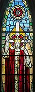 Stained glass window Christ the Good Shepherd, Knodishall church, Suffolk, England, UK by AK Nicholson 1930s