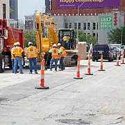 Main Street construction work at Kansas City streetcar starter line groundbreaking ceremony, May 22, 2014.
