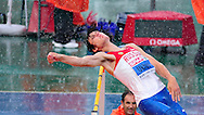 Rusia's Ivan Ukhov competes during the men's high jump final at the 2010 European Athletics Championships at the Olympic Stadium in Barcelona on July 29, 2010.