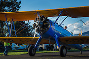 A Stearman PT17 preparing to leave the 2013 Hood River Fly In at WAAAM.