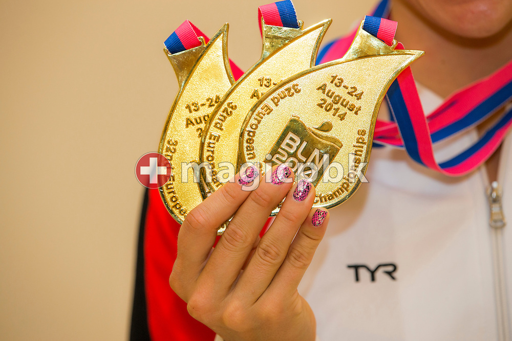 Rikke Moller (Moeller) PEDERSEN of Denmark poses with her three gold medals after the LEN European Swimming Championships at Europa-Sportpark in Berlin, Germany, Sunday, Aug. 24, 2014. (Photo by Patrick B. Kraemer / MAGICPBK)