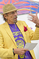 Roslyn, New York, U.S. September 13, 2019. GARY BARAT speaks at ANIMODULES Agents of Peace exhibit Farewell Reception and Founders' talk by Gary Barat and Chandri Barat, at the Nassau County Museum of Art's Manes Art & Education Center, named for Dr. HARVEY MANES, who was in attendance and spearheaded the exhibit.