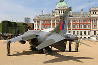 Hawker Siddeley Harrier GR3, RAF100 Aircraft Tour London, Horse Guards, Whitehall, Westminster, London, UK, 01 July 2018, Photo by Richard Goldschmidt, To celebrate the Centenary of the Royal Air force The RAF100 Aircraft Tour is a public display of iconic RAF aircraft in city locations around the country.