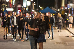 © Licensed to London News Pictures. 28/05/2021. London, UK. Revellers make the most of Friday night out in Soho Square, central London ahead of bank holiday.  Photo credit: Marcin Nowak/LNP