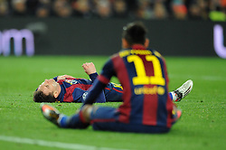 Barcelona's Neymar and Barcelona's Lionel Messi cut dejected figures as Joe Hart saves their shots in close succession  - Photo mandatory by-line: Dougie Allward/JMP - Mobile: 07966 386802 - 18/03/2015 - SPORT - Football - Barcelona - Nou Camp - Barcelona v Manchester City - UEFA Champions League - Round 16 - Second Leg