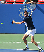 DANILL MEDVEDEV hits a forehand at the Rock Creek Tennis Center.