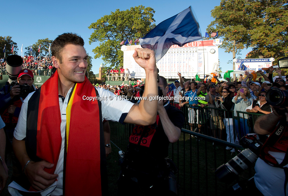 Martin KAYMER (EUR)  celebrates during final day Singles,Ryder Cup Matches,Medinah CC,<br /> Medinah,Illinois,USA.