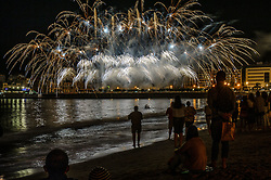 August 13, 2017 - San Sebastian, Gipuzkoa - Basque Country, Spain - Semana Grande Donosti - The pyrotechnics Hermanos Caballer during your participation in the contest of fireworks in San Sebastian. San Sebastian celebrates its patron saint festivities ''Aste Nagusia'', on August 13, 2017 in San Sebastian, Spain  (Credit Image: © Jose Ignacio Unanue/NurPhoto via ZUMA Press)