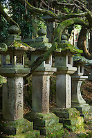 Moss covered lanterns at Kasuga Taisha, famous for its many lanterns which were donated by worshippers. More than three thousand of these stone lanterns line the shrine's approach.  Many of these are lit on the occasion of the Lantern Festivals in February and August.