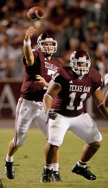 Texas A&M quarterback Stephen McGee passes against Montana State while running back Jorvorskie Lane blocks during the third quarter on Saturday, Sept. 1, 2007. Texas A&M won the game 38-7 in College Station, TX.