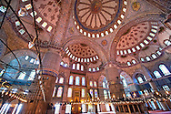 Interior of The Sultan Ahmed Mosque (Sultanahmet Camii) or Blue Mosque, Istanbul, Turkey. Built from 1609 to 1616 during the rule of Ahmed I the interior is decorated with Iznik tiles. .<br /> <br /> If you prefer to buy from our ALAMY PHOTO LIBRARY  Collection visit : https://www.alamy.com/portfolio/paul-williams-funkystock/blue-mosque-istanbul.html<br /> <br /> Visit our TURKEY PHOTO COLLECTIONS for more photos to download or buy as wall art prints https://funkystock.photoshelter.com/gallery-collection/3f-Pictures-of-Turkey-Turkey-Photos-Images-Fotos/C0000U.hJWkZxAbg