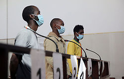 SOUTH AFRICA - Durban - 02 July 2020 -  From L-R is Sboniso Mseleku, Kulekani Dlamini (young under 17 in middle) and Erasmu Nhasengu appears at the Umlazi magistrate court in accounts of murder and kidnapping  a uber taxi driver in mlazi.<br /> Picture: Motshwari Mofokeng/African News Agency (ANA)