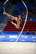 Ashram Linoy during qualifying at ribbon in Pesaro World Championships at Adriatic Arena on August 31, 2017. Linoy  is an Isrlaelian rhythmic gymnastics athlete born on May 13,1999 in Tel Aviv. Her targhet is to win Israel's first Olympic rhythmic gymnastics medal at the 2020 Olympic Games in Tokyo.