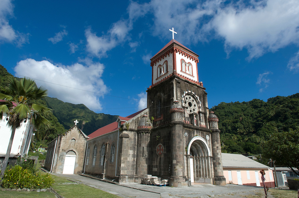 A church in the village of Soufriere, Dominica