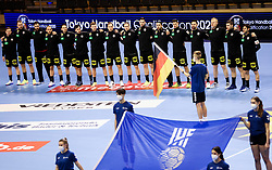 Team Germany listening to the National anthem prior to the handball match between National Teams of Germany and Slovenia at Day 2 of IHF Men's Tokyo Olympic  Qualification tournament, on March 13, 2021 in Max-Schmeling-Halle, Berlin, Germany. Photo by Vid Ponikvar / Sportida