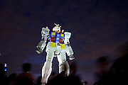 A life size model of a Gundam RX78 model, standing18 metres tall and weighing 35 tons, on display in Shiokaze Park in Odaiba to commemorate  30 years of the popular toy is also being used to draw attention to Tokyo`s 2016 Olympic bid. Odaiba, Tokyo August 14th 2009