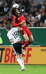 11.10.2011, Esprit Arena, Duesseldorf, GER, UEFA EURO 2012 Qualifikation, Deutschland (GER) vs Belgien (BEL), im Bild..Tino Kroos (GER) gegen Marouane Fellaini (Belgien)..// during the UEFA Euro 2012 qualifying round Germany vs Belgium  at Esprit Arena, Duesseldorf 2011-10-11 EXPA Pictures © 2011, PhotoCredit: EXPA/ nph/  Hessland       ****** out of GER / CRO  / BEL ******