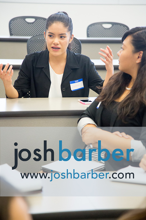 Jasmine Ubario, Kymberly Okamoto during the first event of the Mihaylo College of Business and Economics Women's Leadership Program at California State University Fullerton  on Friday, Nov. 6, 2015 in Fullerton, California.