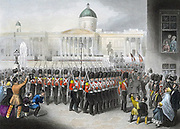 Crimean War (Russo-Turkish War) 1853-1856:  British Grenadier Guards departing from Trafalgar Square, London, 22 February 1854 on route for the Crimea. Hand-coloured engraving c1860.