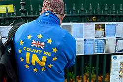 © Licensed to London News Pictures. 05/12/2018. LONDON, UK.  An anti-Brexit supporter views Brexitometers (gauges of regional public opinion on Brexit) outside the Houses of Parliament as MPs debate Theresa May's Brexit deal with the European Union ahead of the meaningful vote of December 11.  Photo credit: Stephen Chung/LNP
