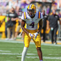 Sep 26, 2020; Baton Rouge, Louisiana, USA; LSU Tigers safety Todd Harris Jr. (4) against the Mississippi State Bulldogs during the first half at Tiger Stadium. Mandatory Credit: Derick E. Hingle-USA TODAY Sports
