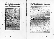 De insulis nuper in Mari Indico repertis [and] de insulis nuper inventis Illustration by Carlo Verardi, 1440-1500. Published 1494. A two-page spread from In laudem Serenissimi Ferdinandi, Hispania. Shows an ancient Spanish ship