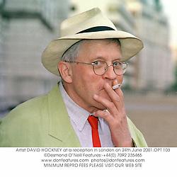 Artist DAVID HOCKNEY at a reception in London on 24th June 2001.OPT 103