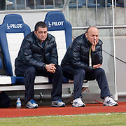 Ankaragucu's coach Sedat KARABUK (R) during their Turkish superleague soccer match Kasimpasa between Ankaragucu at the Recep Tayyip Erdogan stadium in Istanbul Turkey on Saturday 19 February 2011. Photo by TURKPIX