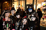 Lewes, UK. Monday 5th November 2012. Cliffe bonfire society members dressed as the undead. Bonfire Night celebration in the town of Lewes, East Sussex, UK which form the largest and most famous Guy Fawkes Night festivities. Held on 5 November, the event not only marks the date of the uncovering of the Gunpowder Treason and Plot in 1605, but also commemorates the memory of the 17 Protestant martyrs from the town burnt at the stake for their faith during the Marian Persecutions of 1555–57. There are six bonfire societies putting on parades involving some 3,000 people.